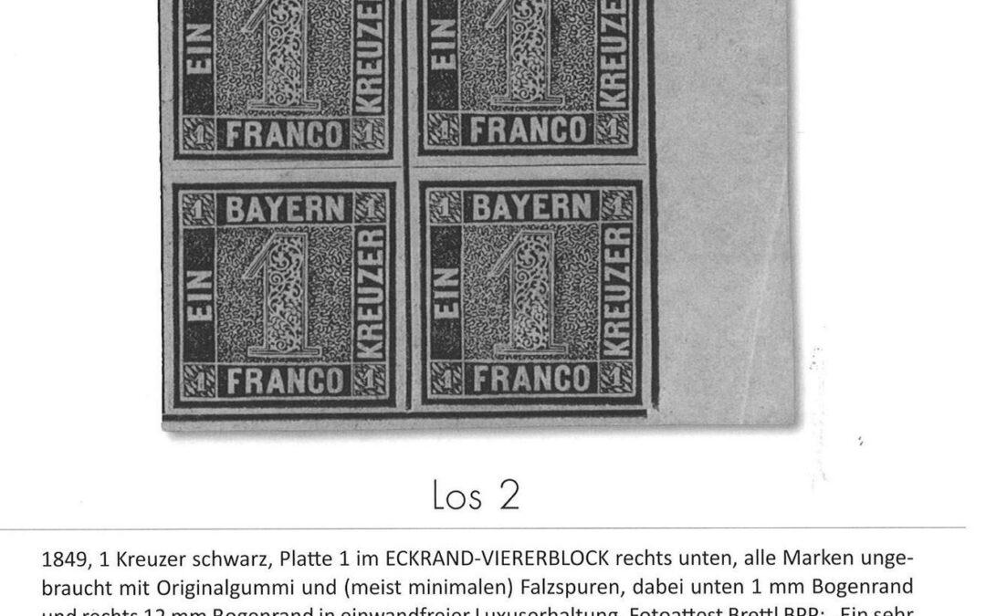 """C.G.-Sonderauktionen """"""""Der Schwarze Einser"""""""" + """"""""Raritäten"""""""" ex Peter Zgonc am 2. Oktober 2019"""