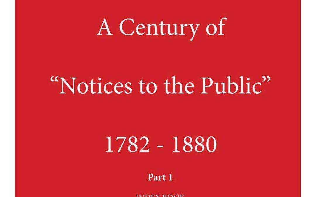 """Ein Jahrhundert """"Notices to the Public"""" 1782-1880. von Paul Wijnants"""